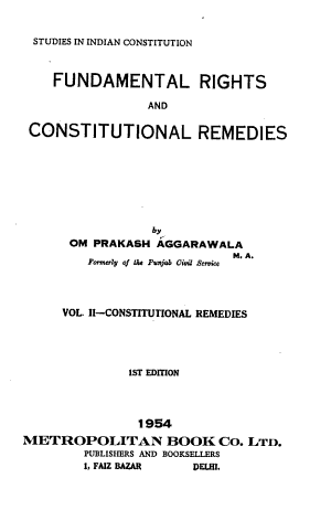 Fundamental Rights and Constitutional Remedies  Constitutional remedies PDF