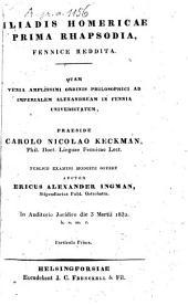 Iliadis Homericae prima rhapsodia, fennice reddita: Sivu 1