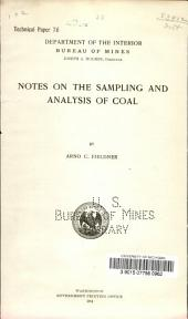 Notes on the sampling and analysis of coal