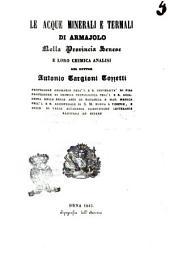 Le acque minerali e termali di Armajolo nella provincia senese e loro chimica analisi del dottor Antonio Targioni Tozzetti