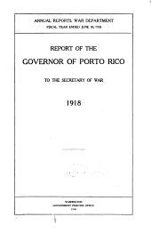 Annual Report of the Governor of Puerto Rico