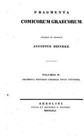 Fragmenta comicorum Graecorum: Volume 4