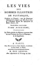 Les vies des hommes illustres de Plutarchus: Volume12