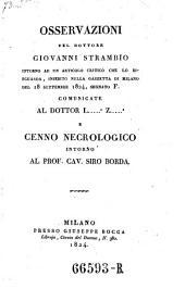 Osservazioni ... intorno ad un articolo critico che lo risguarda, inserito nella gazzetta di Milano del 18. Settembre 1824, segnato F. ... e cenno necrologico intorno a Siro Borda