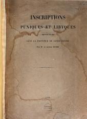 Inscriptions puniques et lybiques trouvées en 1840 dans la province de Constantine