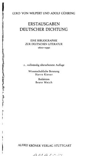 Erstausgaben deutscher Dichtung PDF