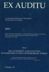 Ex Auditu - Volume 19: An International Journal for the Theological Interpretation of Scripture