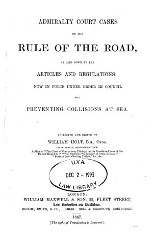 Admiralty Court Cases on the Rule of the Road