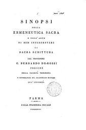 Sinopsi della ermeneutica sacra, o dell'arte di ben interpretare la sacra Scrittura