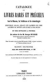 Catalogue des livres rares et précieux sur le blason, la noblesse et la généalogie ... du cabinet de feu M. Georges de Koch