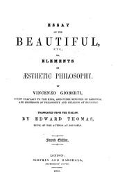 Essay on the Beautiful, etc., or Elements of Æsthetic Philosophy ... Translated ... by E. Thomas ... Second edition