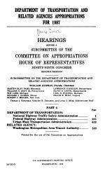 Department of Transportation and Related Agencies Appropriations for 1987: Department of Transportation