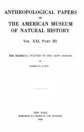 Material Culture of the Crow Indians