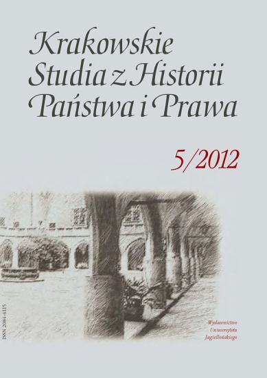 Krakowskie Studia z Historii Pa  stwa i Prawa Vol  5  2012  PDF