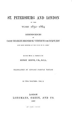 St  Petersburg and London in the Years 1852 64 PDF