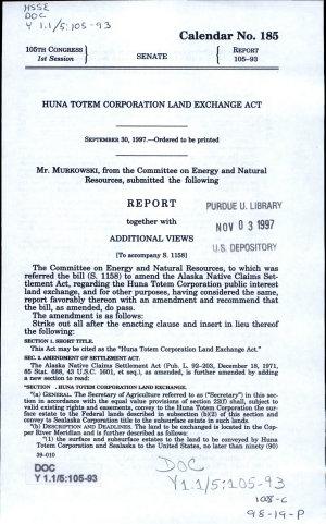 Huna Totem Corporation Land Exchange Act