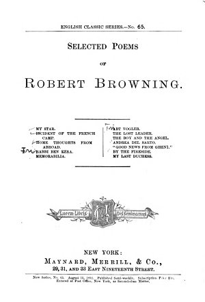 Selected Poems of Robert Browning PDF