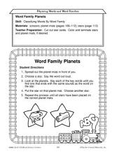 Early Childhood Literacy Centers--Rhyming Words and Word Families