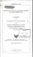 Proposals for Social Security Reform PDF