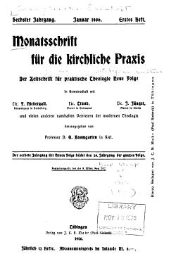 Monatsschrift fur die Kirchliche Praxis PDF