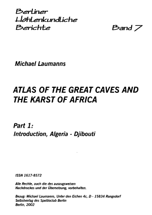 Atlas of the Great Caves and the Karst of Africa  Introduction  Algeria   Djibouti