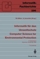 Informatik f  r den Umweltschutz   Computer Science for Environmental Protection PDF