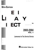 American Library Directory 2003 2004 PDF