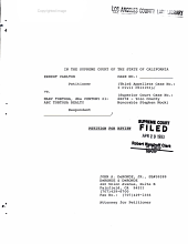 California. Supreme Court. Records and Briefs: S032555, Petition for Review