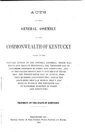 Acts of the General Assembly of the Commonwealth of Kentucky, Passed