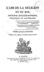 L'Ami de la religion: journal ecclésiastique, politique et littéraire, Volume40