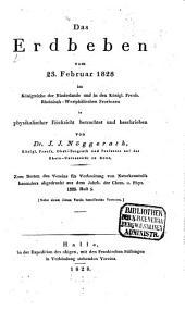 Das Erdbeben vom 23. Februar 1828 im Königreiche der Niederlande und in den Königl. Preuss. Rheinisch-Westphälischen Provinzen: in physikalischer Rücksicht betrachtet und beschrieben