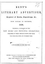Bent's Literary Advertiser and Register of Engravings, Works on the Fine Arts