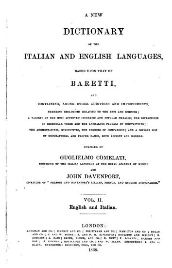A New Dictionary of the Italian and English Languages Based Upon that of Baretti     PDF