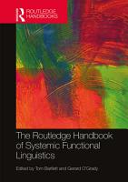 The Routledge Handbook of Systemic Functional Linguistics PDF