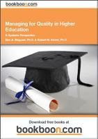 Managing for Quality in Higher Education PDF