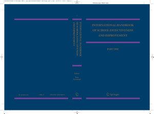 International Handbook of School Effectiveness and Improvement Book