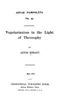 Vegetarianism in the Light of Theosophy