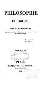 Philosophie du droit: Volume1