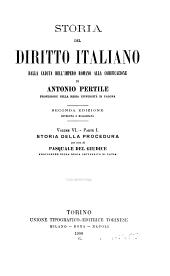 Storia del diritto italiano: dalla caduta dell'Impero romano alla codificazione, Volume 6,Parte 1