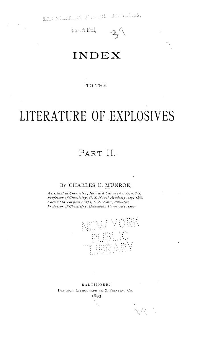 Index to the Literature of Explosives