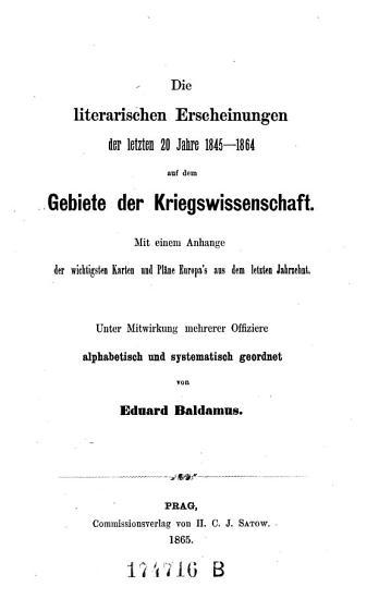 Die literarischen Erscheinungen der letzten 20 Jahre 1845   1864 auf dem Gebiete der Kriegswissenschaft  etc   PDF