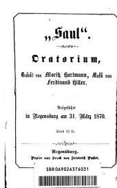 Saul: Oratorium ; aufgeführt in Regensburg am 31. März 1870