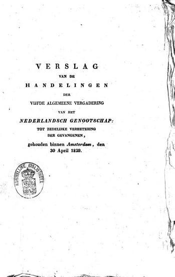 Verslag van de handelingen der vijfde algemeene vergadering van het Nederlandsch genootschap PDF