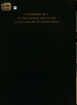 Supplement     to the Finding List of the Public Library of Indianapolis PDF
