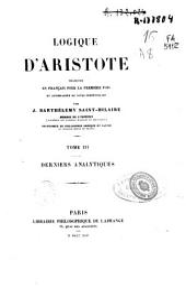 Logique d'Aristote: Derniers analytiques, Volume3