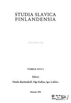 Studia Slavica Finlandensia PDF