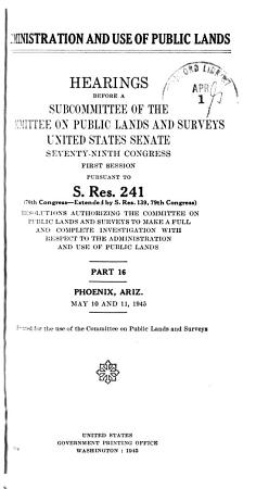 Administration and Use of Public Lands PDF