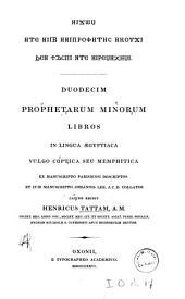 Duodecim prophetarum minorum libros in lingua aegyptiaca vulgo coptica seu memphitica: ex manuscripto parisiensi descriptos et cum manuscripto Johannis Lee