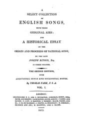 A Select Collection of English Songs: Volume 1