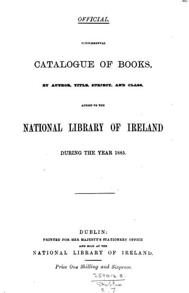 Download Supplemental catalogue of books  by author  title  subject and class  added     from October 1874 to December 1879  1893   Book